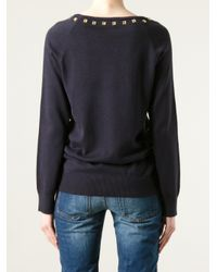 MICHAEL Michael Kors Blue Eyelet Detail Sweater
