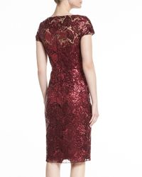 David Meister | Red Short-sleeve Sequined Sheath Dress | Lyst