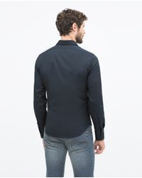 Zara | Blue Stretch Shirt Stretch Shirt for Men | Lyst