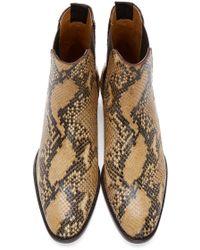 Saint Laurent Brown Python-print Leather Bootie