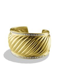 David Yurman | Metallic Pave Diamond Carved Cable Cuff In Gold | Lyst