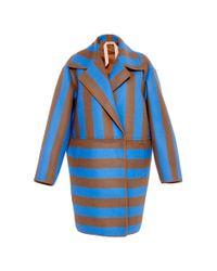 N°21 - Cesira Stripe Coat In Sky Blue - Lyst