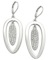 T Tahari | Metallic Essential Double Oval Pavé Drop Earring | Lyst