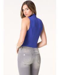 Bebe Blue Silk Wrap Bodysuit