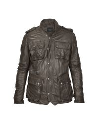 FORZIERI | Brown Washed Leather Car Coat W/ Quilted Lining for Men | Lyst