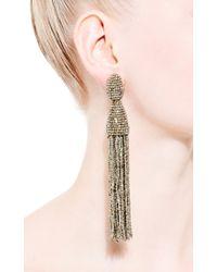 Oscar de la Renta | Metallic Long Tassel Earrings | Lyst