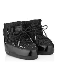 Jimmy Choo Mb Buzz Black Patent And Fabric Moon Boot® With Crystals And Stars Embellishment