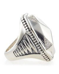 Lagos | Metallic Elongated Pavé Diamond Octagon Ring | Lyst