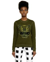 KENZO Green Tiger Embroidered Cotton Sweatshirt for men