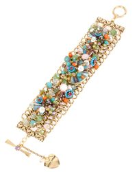 Betsey Johnson | Metallic Weave And Sew Floral Beaded Cuff Bracelet | Lyst