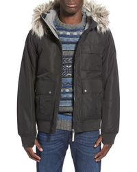 Bench - Black 'sizzle' Hooded Bomber Jacket With Faux Fur Trim for Men - Lyst