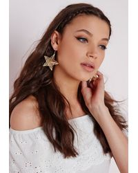 Missguided | Metallic Filigree 3d Star Earrings | Lyst