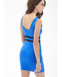 Forever 21 | Blue Mesh Scuba Knit Dress | Lyst