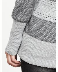 Banana Republic | Gray Mixed-stitch Turtleneck Sweater | Lyst