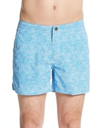 Onia - Blue Calder Paisley Print Swim Trunks for Men - Lyst