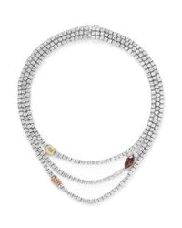 CZ by Kenneth Jay Lane | Metallic Coloured Station Cubic Zirconia Necklace | Lyst