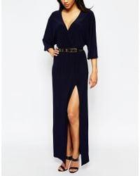 ASOS - Blue Kimono Maxi Dress With Gold Belt - Lyst