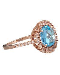 Suzanne Kalan Blue Rose Gold Kiwi Topaz Ring