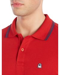 Benetton | Red Short Sleeve Tipped Polo for Men | Lyst
