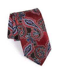 JZ Richards | Red Paisley Woven Silk Tie for Men | Lyst