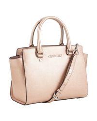 MICHAEL Michael Kors Pink Selma Medium Top Zip Leather Satchel
