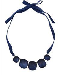 Jaeger Blue Pebble Ribbon Necklace
