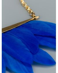 Katerina Psoma Blue Feather Necklace