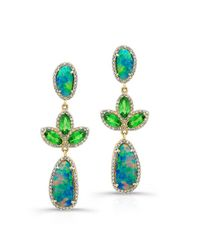Anne Sisteron | Multicolor 18kt Yellow Gold Opal Tsavorite Diamond Earrings | Lyst
