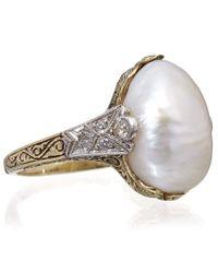 Kojis | Metallic Gold Diamond Natural Pearl Ring | Lyst