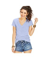 Awake - Blue Juniors Vneck Tee - Lyst