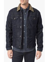 7 For All Mankind Blue Sherpa Lined Jacket for men