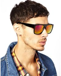 ASOS | Black Chunky Flat Brow Sunglasses With Colour Mirror Lens for Men | Lyst
