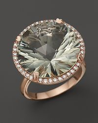 Lisa Nik | Green 18k Rose Gold Prasiolite Diamond Ring | Lyst