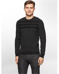 Calvin Klein | Black White Label Jacquard Stripe Cotton Blend Sweater for Men | Lyst