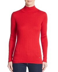 Calvin Klein - Red Knit Mockneck Sweater - Lyst