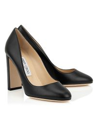 Jimmy Choo - Laria 100 Black Nappa Leather Round Toe Pumps - Lyst