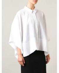 Avelon White Wide-Sleeved Oversized Shirt