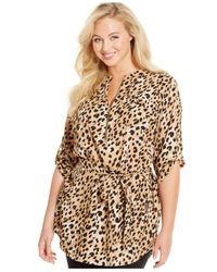 Calvin Klein | Metallic Plus Size Leopard-print Tied-waist Tunic Top | Lyst