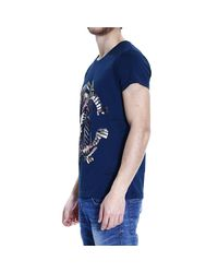 Roberto Cavalli Blue T-shirt Short Sleeves Crewneck Logo Print for men