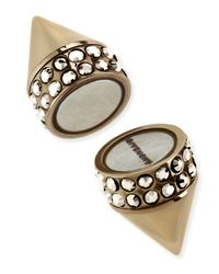 Givenchy Metallic Single Pale Golden Small Double Cone Magnetic Shark Earring With Crystals