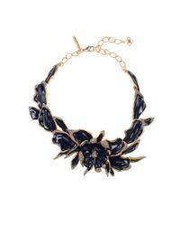 Oscar de la Renta - Black Orchid Enamel Necklace - Lyst