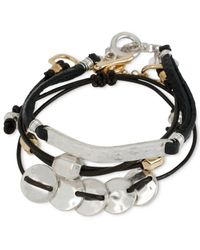 Robert Lee Morris | Black Two-tone Leather Bracelet Set | Lyst