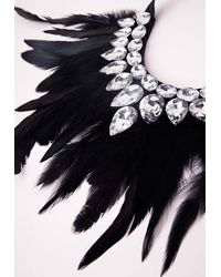 Missguided   Multicolor Statement Feather Necklace   Lyst