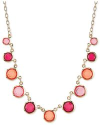 2028 - Metallic Gold-Tone Pink And Coral Acrylic Stone Frontal Necklace - Lyst