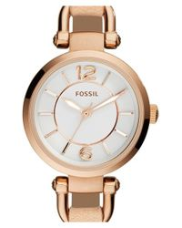Fossil | White 'georgia' Round Leather Strap Watch | Lyst