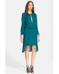 Haute Hippie Blue Cold Shoulder Silk Blouson Dress