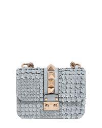 Valentino Blue Mini Lock Flower Leather Shoulder Bag