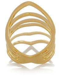 Arme De L'Amour - Metallic Reverse Chevron Gold-Plated Ring - Lyst