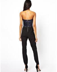 TFNC London - Blue Bandeau Jumpsuit with Sequin Bustier - Lyst