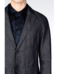 Emporio Armani | Blue Deconstructed Jacket In Denim Effect Cotton And Linen for Men | Lyst